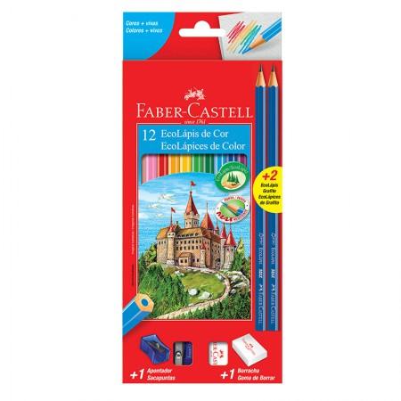 Lápis de cor GDE com 12 cores Kit escolar 120112/2N Faber Castell