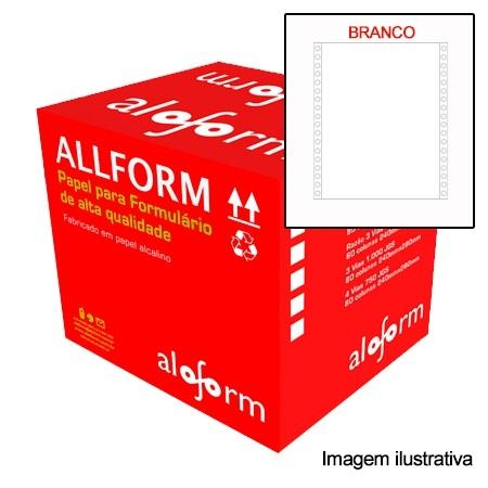 Formulário contínuo 80 colunas 2 vias branco com  carbono 406 AllForm caixa 1500 unid.