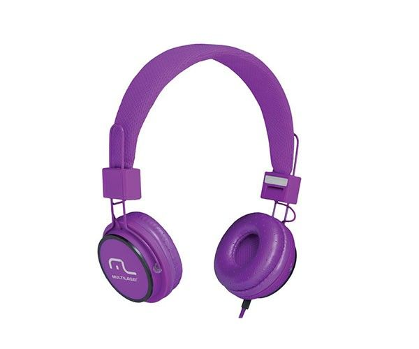 Fone de ouvido com microfone HeadFun roxo Multilaser PH090 unid.