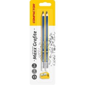 Lápis preto N2 HB MAX Grafite triangular com apontador compactor cartela 02 unid.