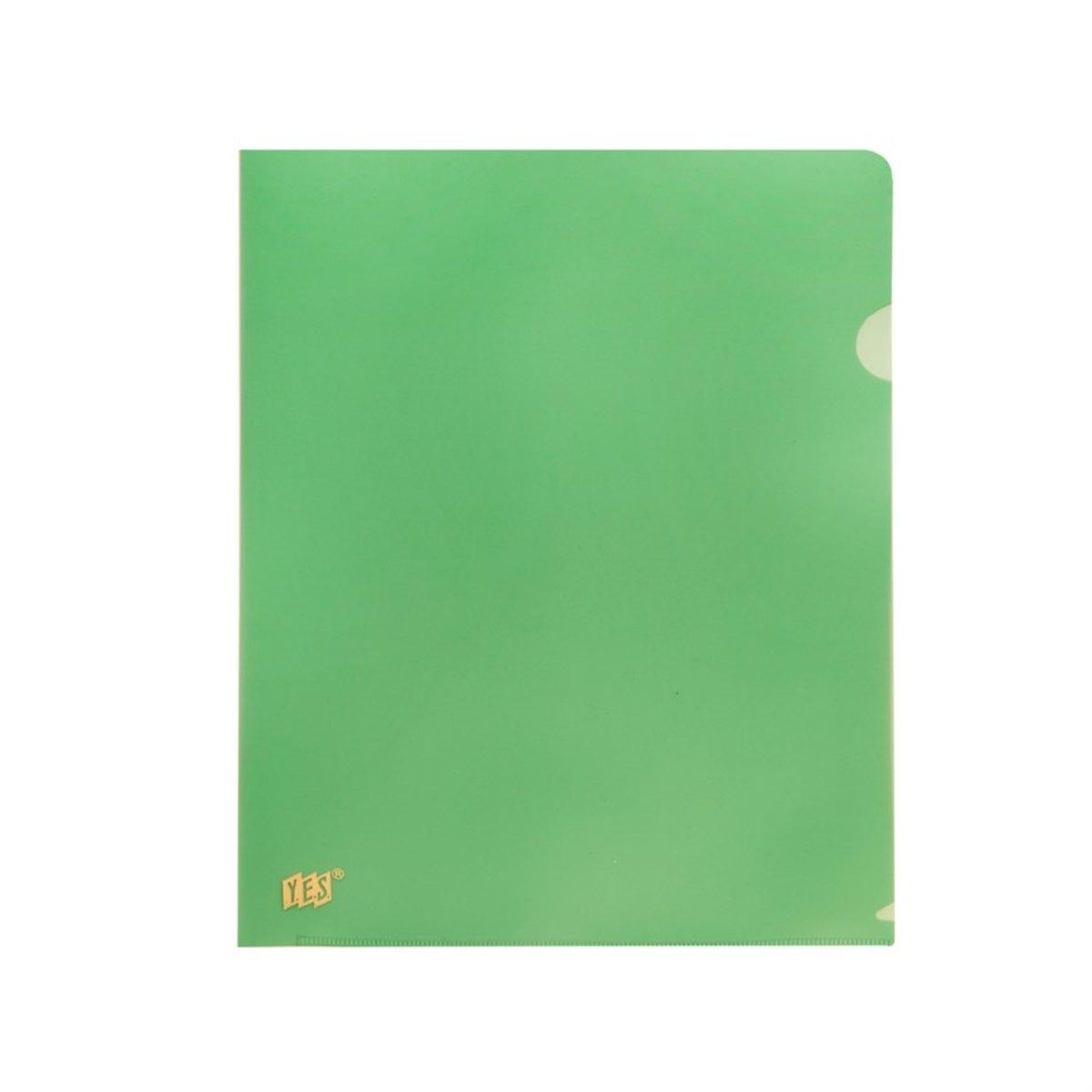 Pasta em L transparente A4 verde unid.