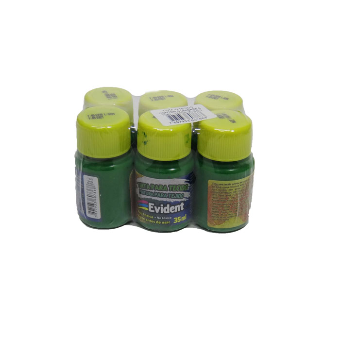 Kit com 6 Tintas para Tecido 35 ml Verde Musgo T042 Evident