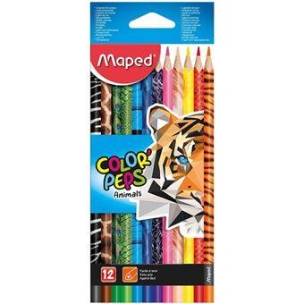 Lápis de cor GDE com 12 cores Color Peps Animais Triangular Maped