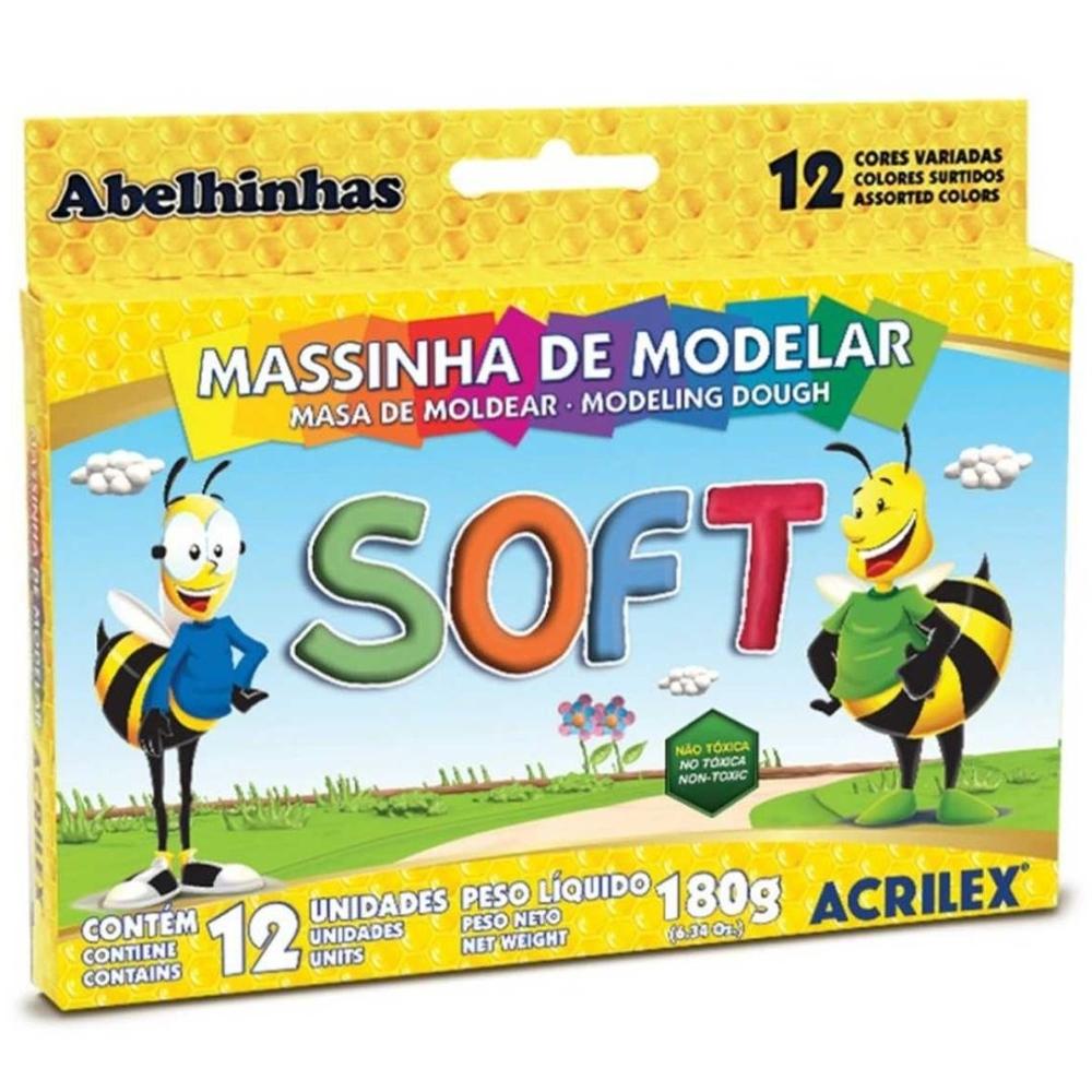 Massa de modelar soft 180grs Acrilex caixa com 12