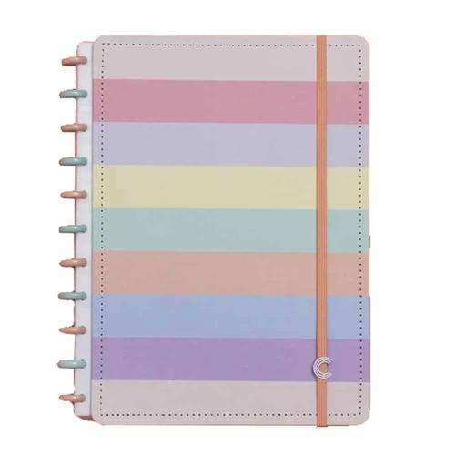 Caderno Inteligente A5 capa dura universitário 60 folhas Arco iris Pastel Ambras