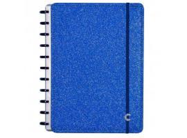 Caderno Inteligente A5 capa dura universitário 60 folhas Glitter Azul Ambras