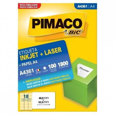 Etiqueta Inkjet e Laser A4 361 Pimaco pacote 100 folhas