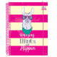 Caderno capa dura universitário 160 folhas Trendy Lhama 10x1 unid.