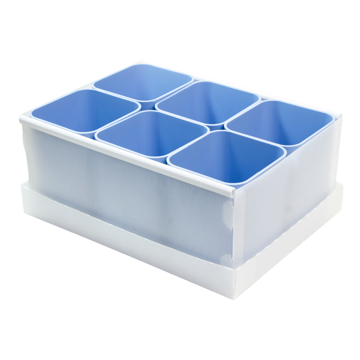 Caixa organizadora de objetos com 06 compartimentos azul claro 2193.B.0004 Dello unid.