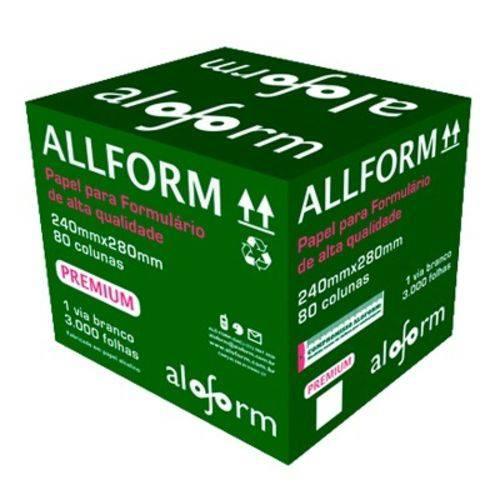 Formulário contínuo razão 80 colunas 2 vias 1/2 página branco 407 Allform caixa 3000 unid.