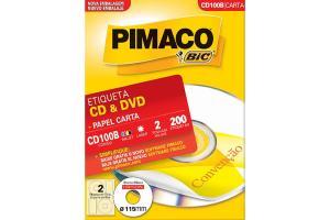 Etiqueta carta branca CD-100B para CD e DVD CDPPLY Pimaco caixa com 100 folhas