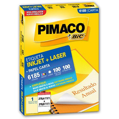 Etiqueta Inkjet e Laser 6185 Pimaco pacote 100 folhas