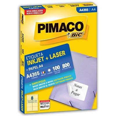 Etiqueta para Inkjet e Laser A4 365 Branca Pimaco caixa com 100 folhas