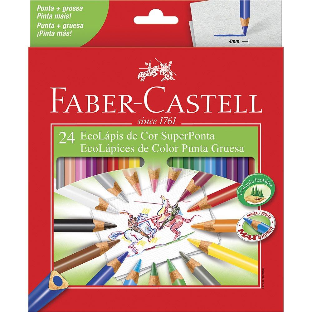 Lápis de cor com 24 cores super ponta Triangular 120524SP Faber unid.