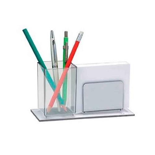 Porta lápis/lembrete acrílico duplo com bloco 948.3 Cristal Acrimet unid.