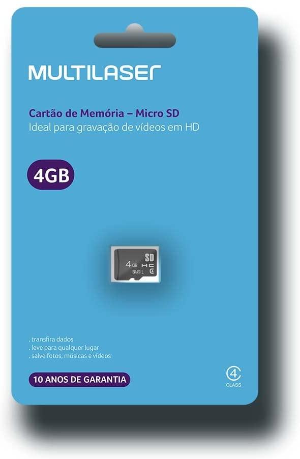 CARTAO DE MEMORIA 04GB CLASSE 4 MC144 MULTILASER