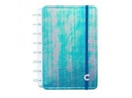 Caderno Inteligente A5 capa dura universitário 60 folhas Holográfico azul Ambras