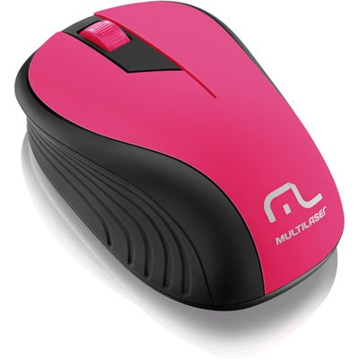 Mouse sem fio 1200 DPI 3 botões preto/rosa Multilaser MO214 unid.