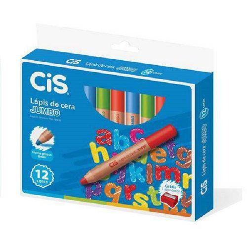 Lápis de cera Jumbo cores CIS caixa com 12 unid.