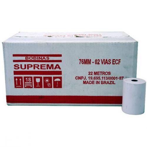 Bobina 76mm x 22mts 2 vias Suprema caixa com 30 unid.