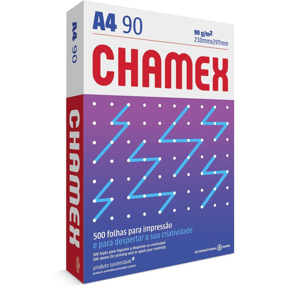 Papel sulfite Alcalino A4 90g 210x297 com 500 folhas Chamex unid.