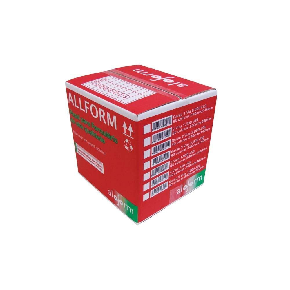 Formulário contínuo razão 80 colunas 3 vias 1/2 página branco 408 All Form caixa 2000 unid.
