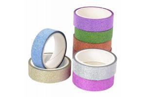 Fita adesiva com gliter decorativa  hd 66701 cores Copimar rolo.
