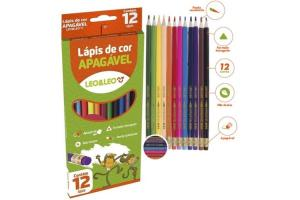 Lápis de cor GDE apagável com 12 cores Plástico triangular 72101 Leo e Leo unid.