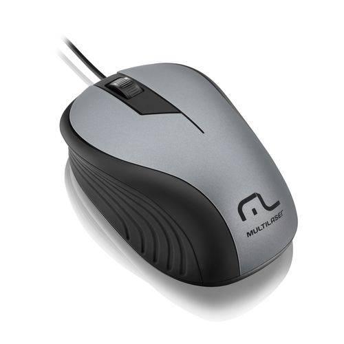 Mouse Wave 1200 DPI 3 botões Óptico cinza/preto Multilaser MO225 unid.