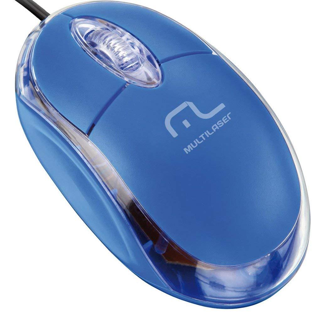 Mouse 800 DPI 3 botões Óptico USB azul Multilaser MO001 unid.