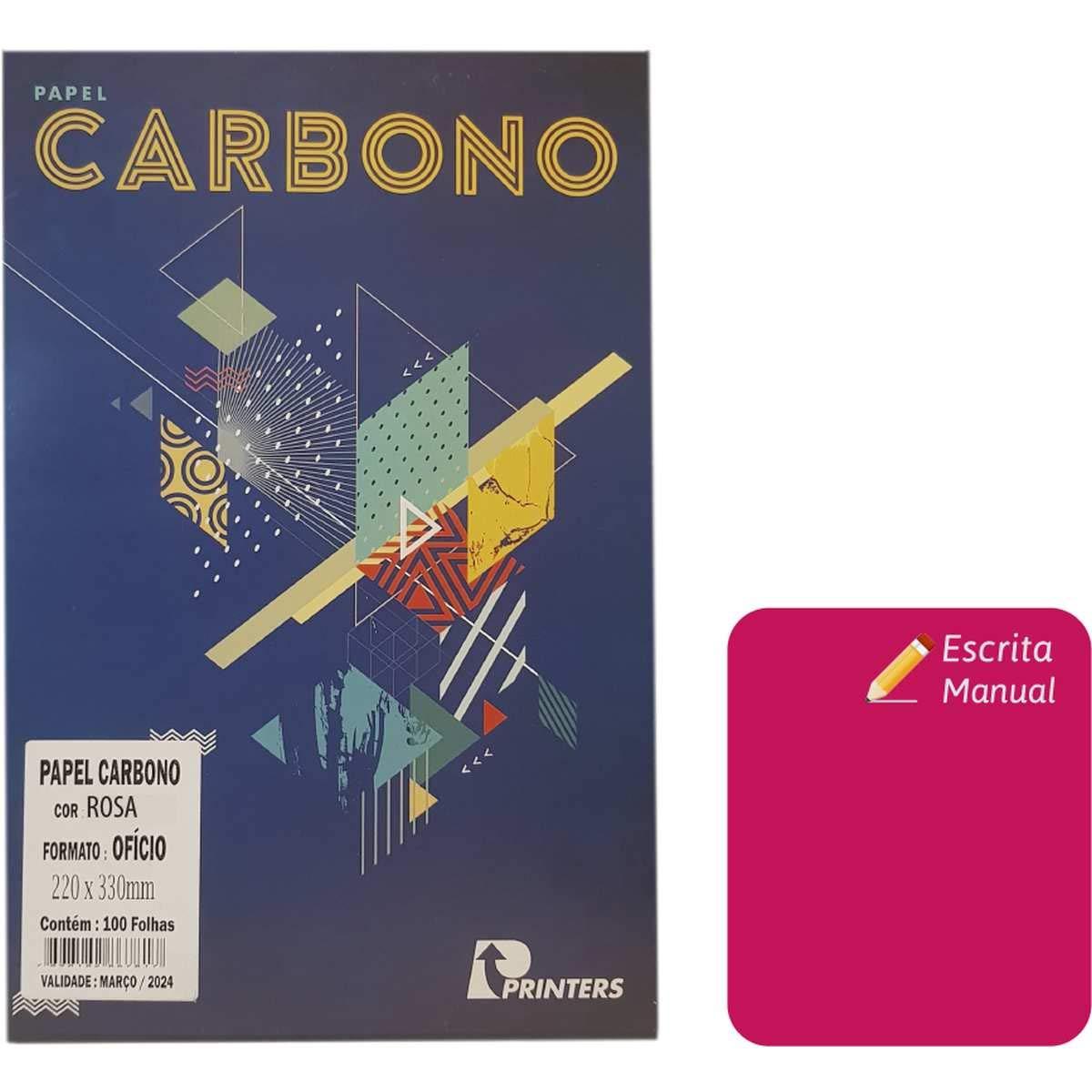 Carbono manual ofício rosa Printers Franklin pacote com 100 folhas