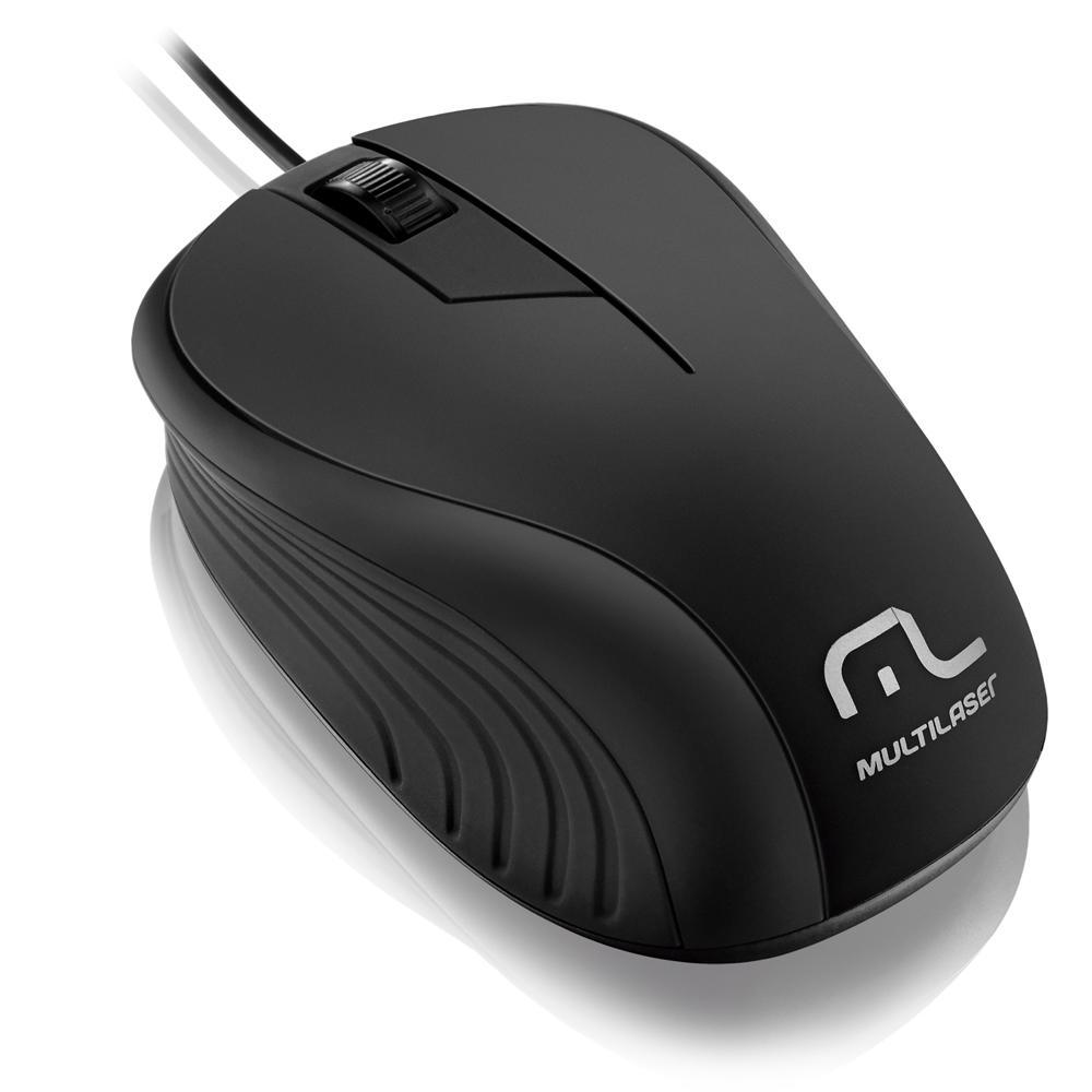 Mouse Wave 1200DPI 3 botões preto Multilaser MO222 unid.