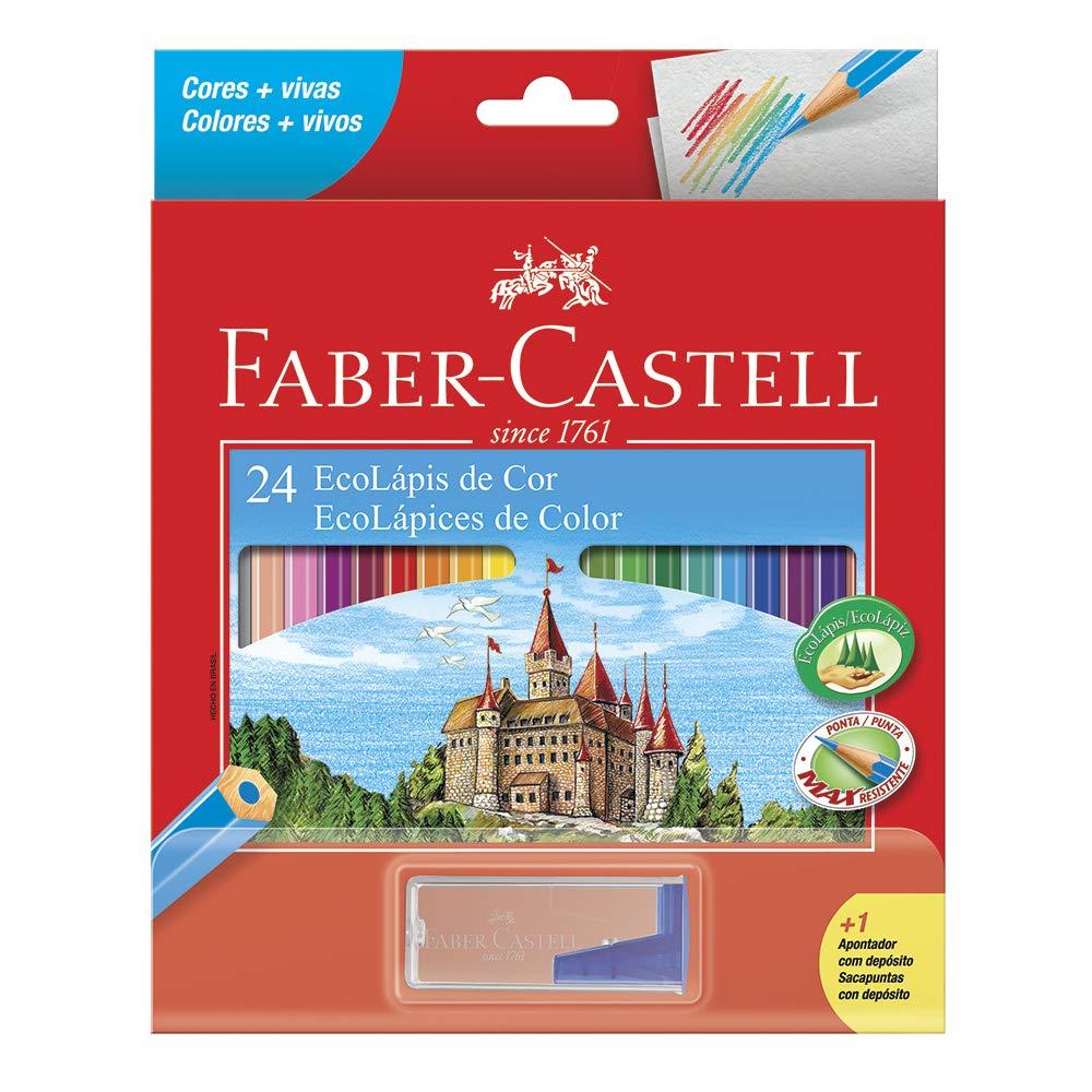 Lápis de cor GDE com 24 cores 120124 1 apontador Faber unid.
