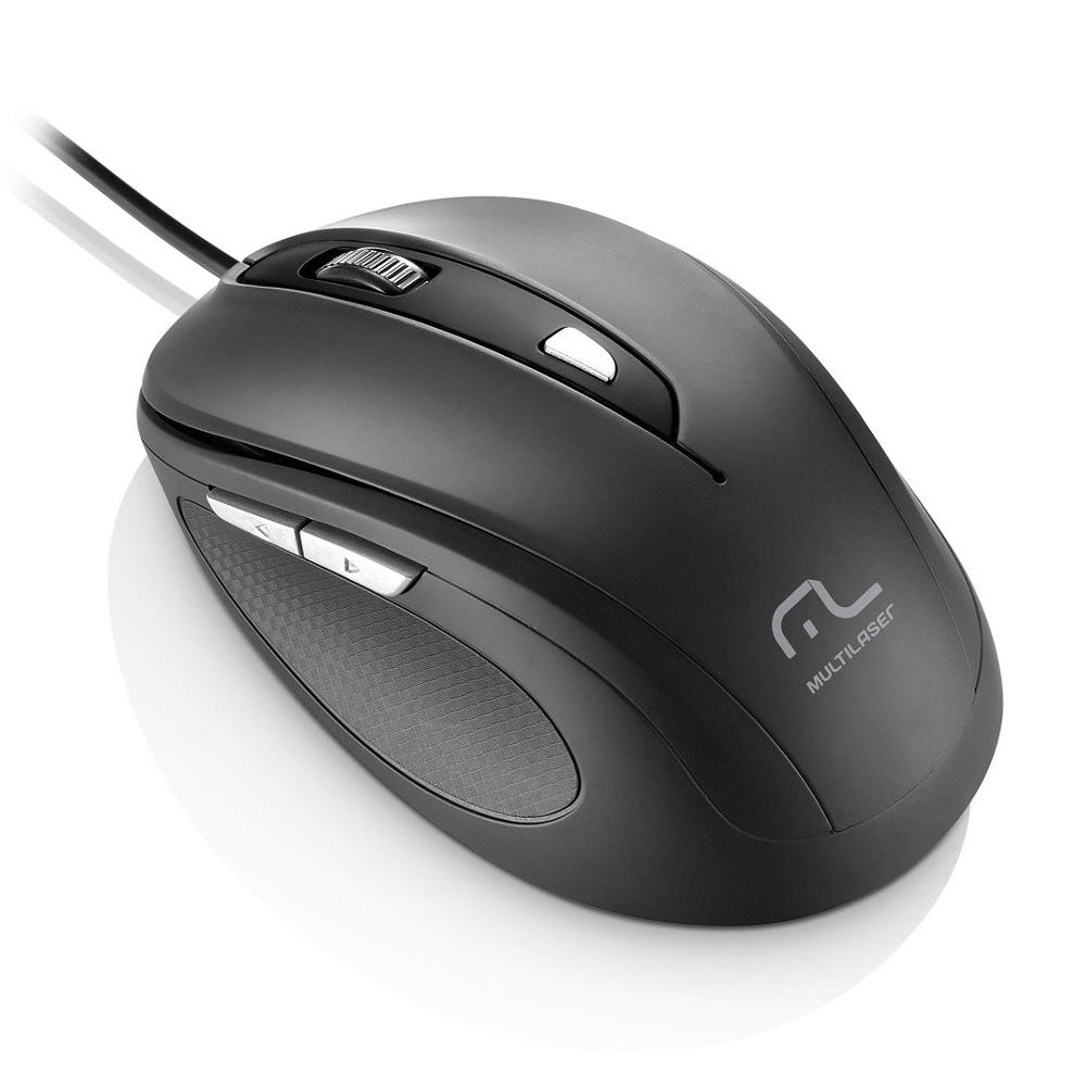 Mouse 1600 DPI 6 botões Óptico USB preto Multilaser MO241 unid.