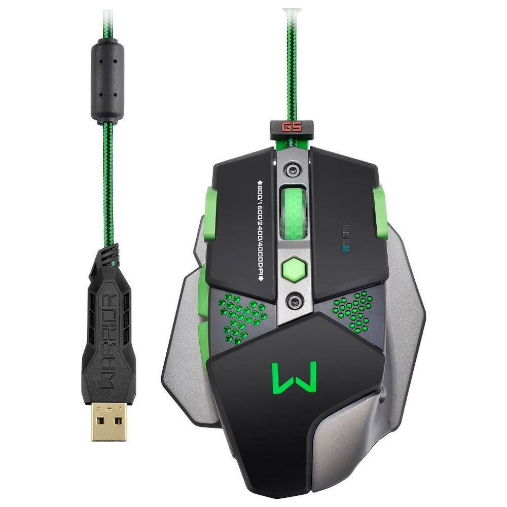 Mouse Gamer Warrior Khalon LED 7 botões 4000 DPI Multilaser MO249 unid.