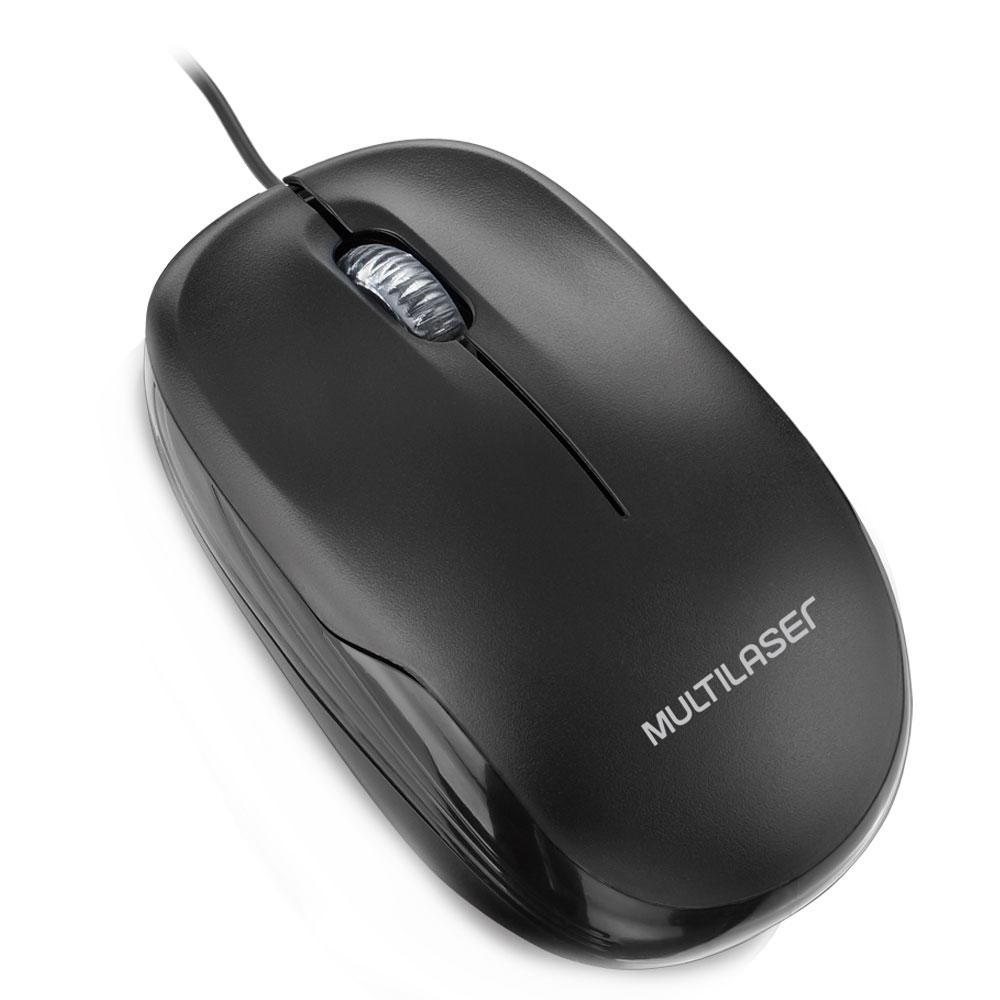 Mouse 3 botões 1200 DPI USB preto Multilaser MO255 unid.