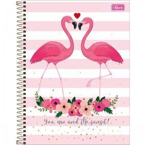 Caderno capa dura universitário 160 folhas Trendy Flamingo 10x1 unid.