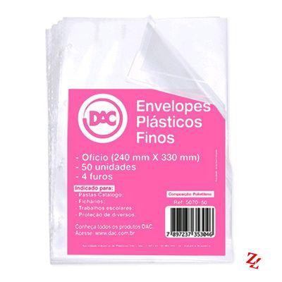 Plástico para pasta catálogo 4 furos 240 x 330 oficio fino 5070-50 DAC unid.