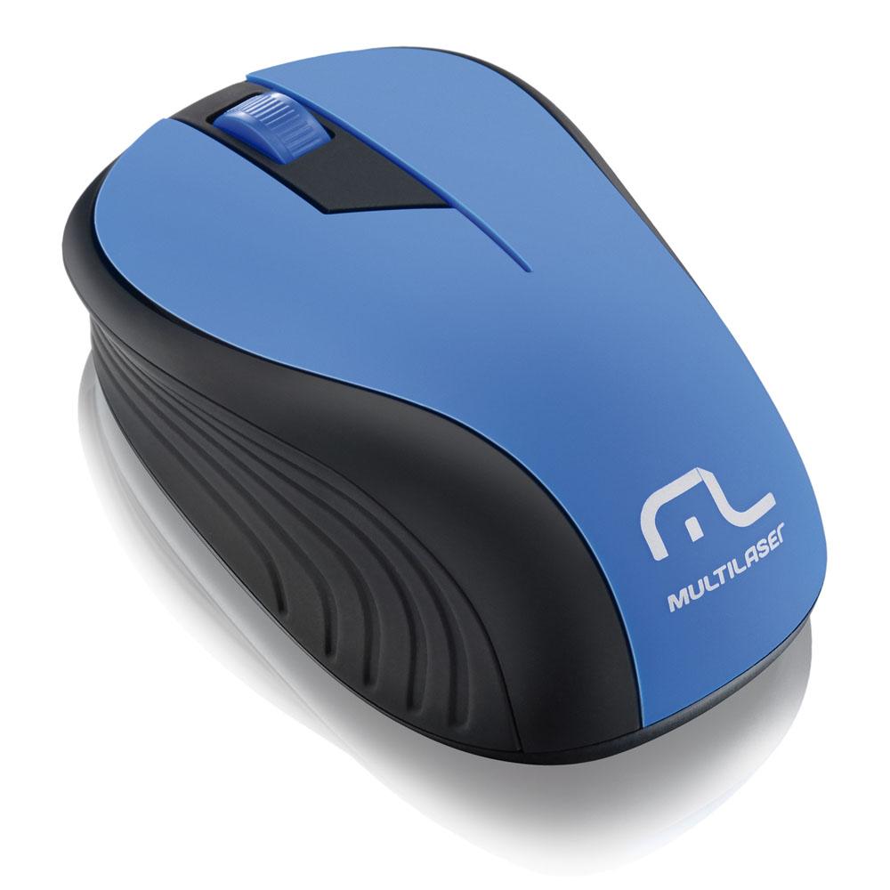 Mouse sem fio 1200 DPI 3 botões Óptico preto/azul Multilaser MO215 unid.