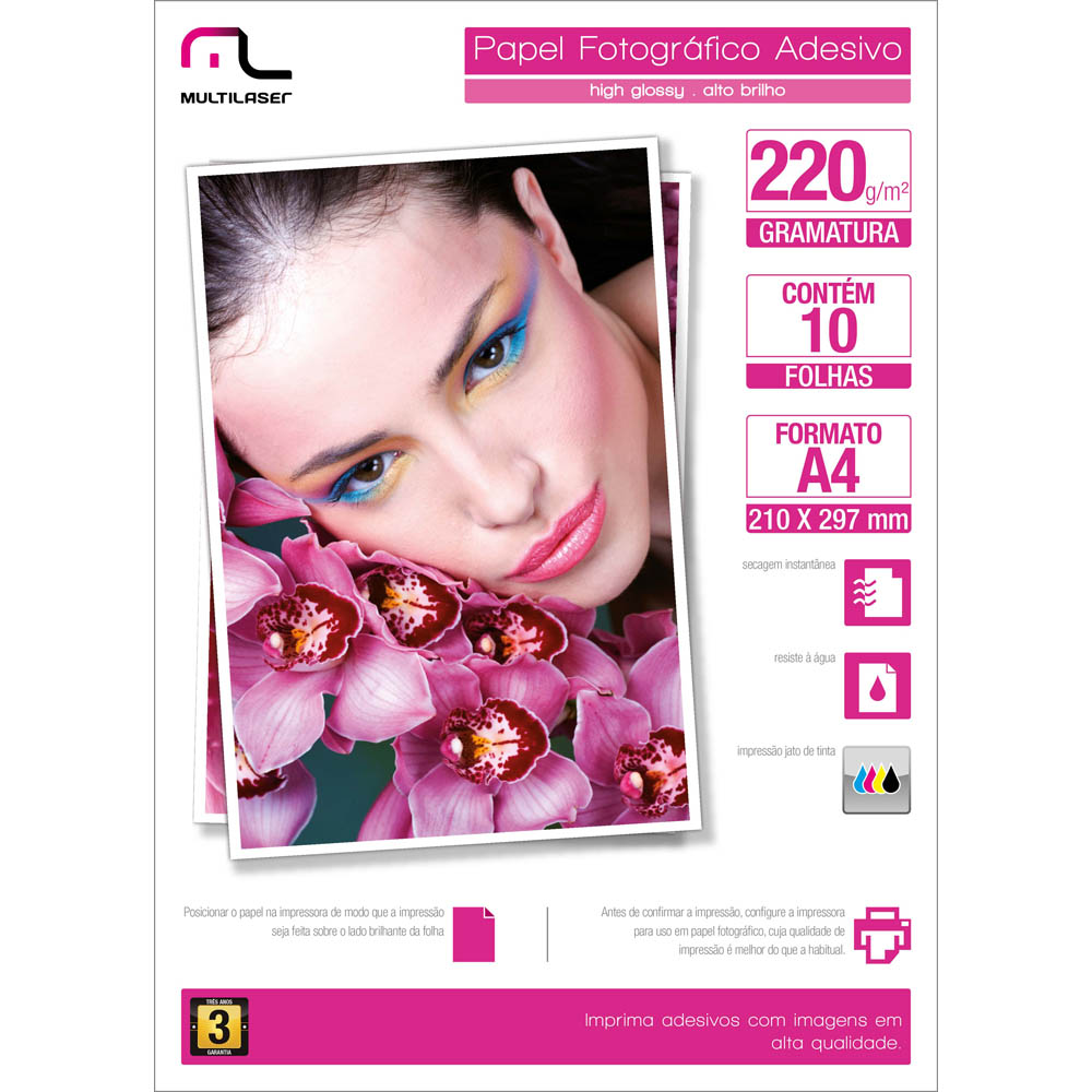 Papel Glossy Paper Adesivo A4 210 x 297 220g pacote com 10 folhas Multilaser PE001 unid.