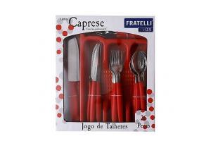 Jogo talheres Caprese 26 peças Vermelho Fratelli unid.