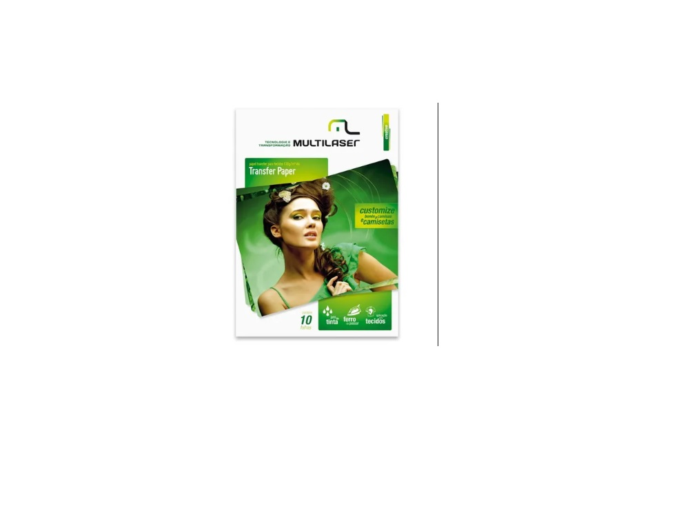 Papel Transfer Paper 130g A4 caixa com 10 folhas Multilaser PE020 unid.