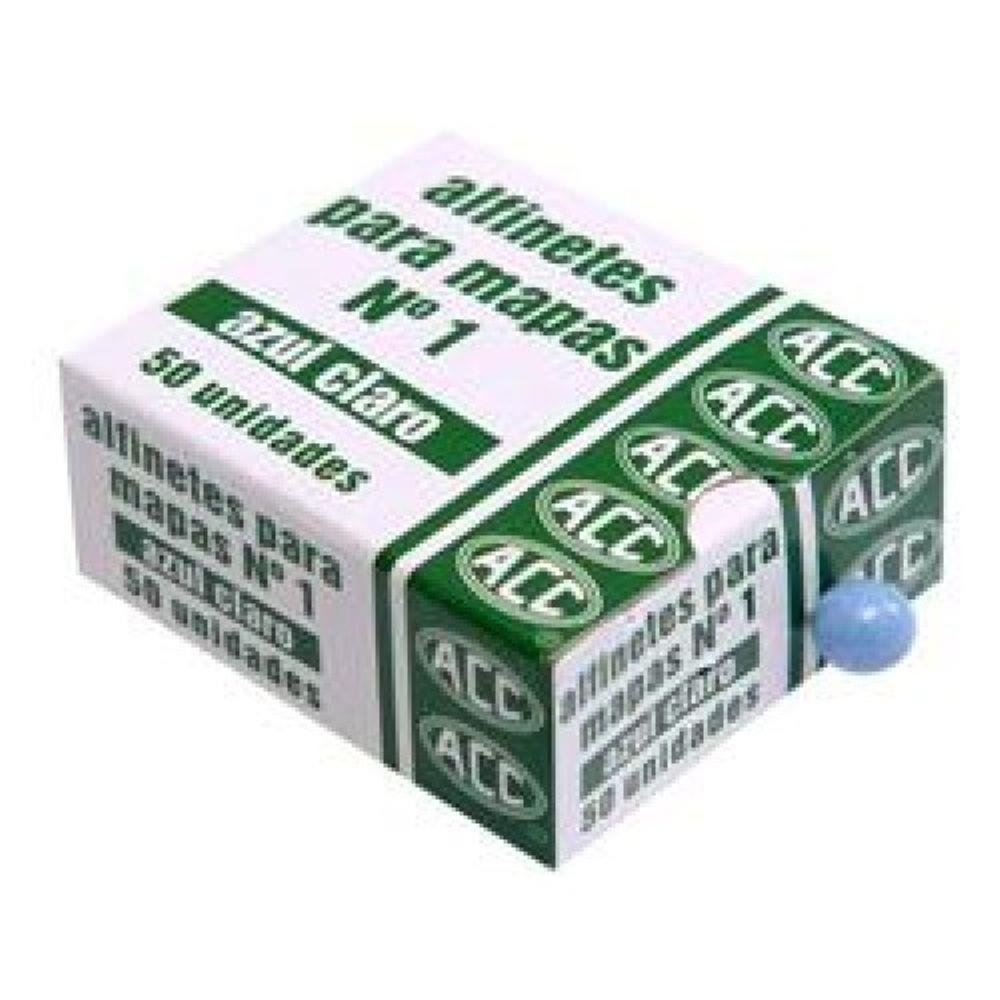 Alfinete para mapas N.1 azul claro acc caixa com 50 unidades