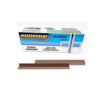 Grampo 26/6 cobreado Masterprint caixa com 5000 unidades