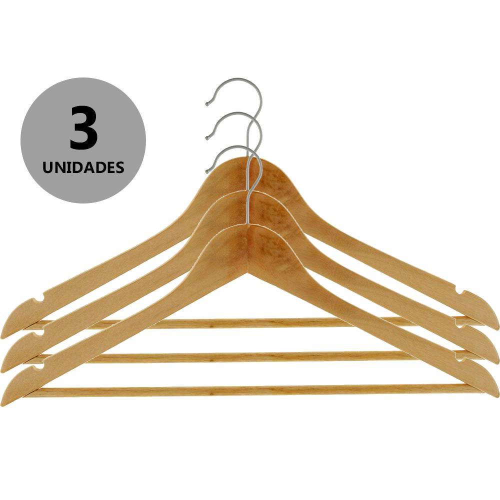 Conjunto Cabide em Madeira 3 peças 647303 Unicasa unid.