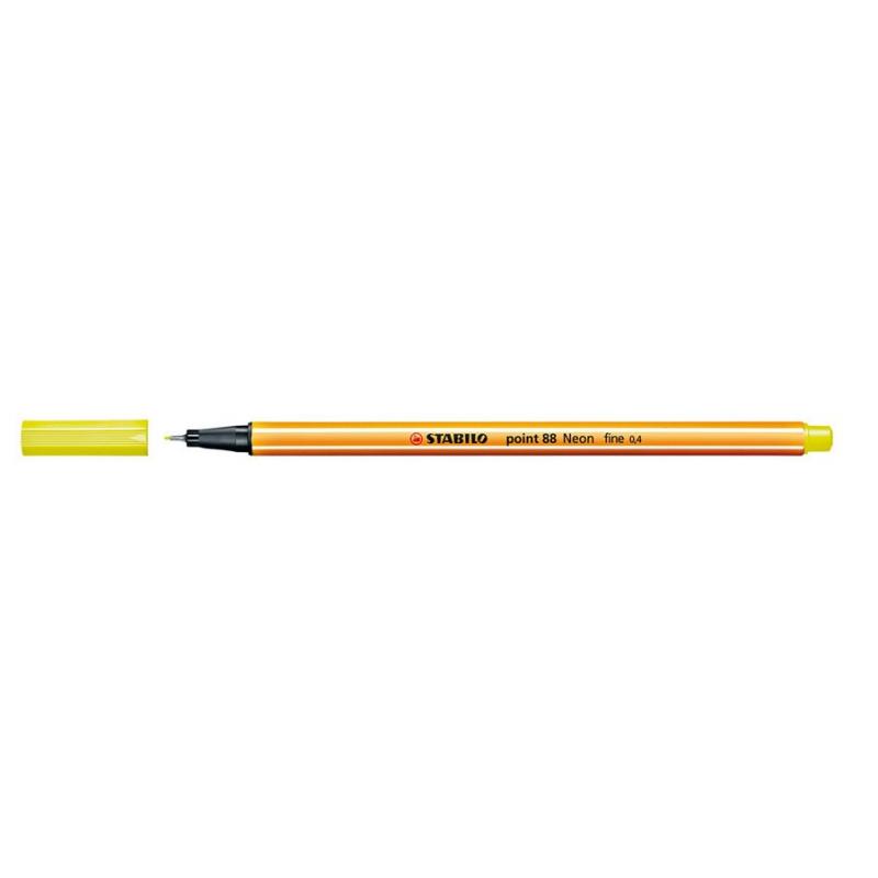 Caneta Point Stabilo 0.4 Fine amarelo neon Stabilo 88/024 unid.