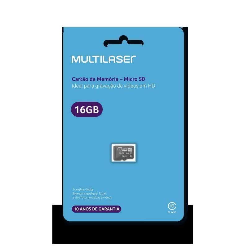 Cartão de memória 16GB micro SD MC143 Multilaser