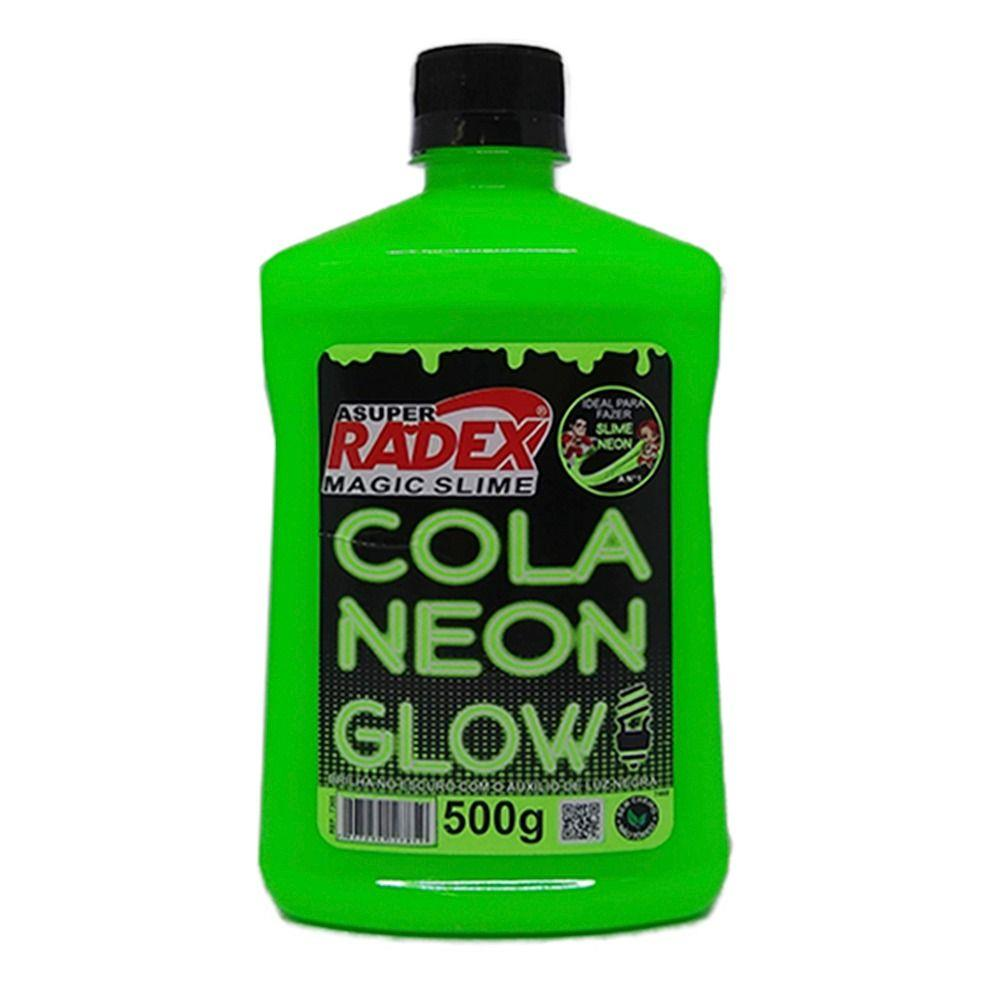 Cola glow slime 500 grs neon 7305 verde Radex