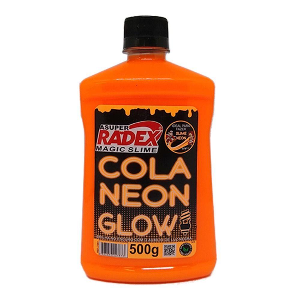 Cola glow slime 500 grs neon 7307 laranja  Radex