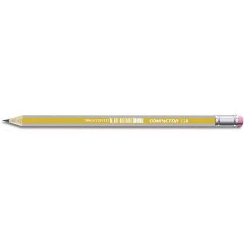 Lápis preto com borracha 2B compactor unid.